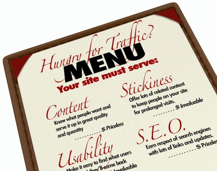 A menu with instructions and guidance for growing your web traffic and improving your search engine reputation and ranking, with content, usability, s.e.o., and stickiness